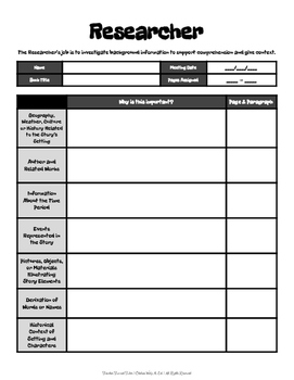 Reseacher: Guide Sheet for Literature Circles