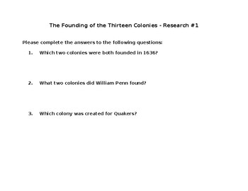Research 1-The Founding of the Thirteen Colonies