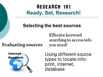 Research 101:  Ready, Set, Research! Effective Research Skills Presentation