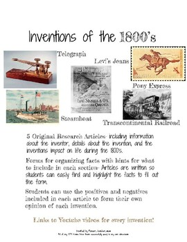 Research 1800s Inventions- Steamboat, Railroad, Telegraph, Levis, Pony Express