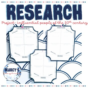 Research Project for 4th & 5th grade [Famous People of the 20th Century]