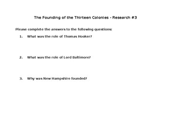 Research 3- The Founding of the Thirteen Colonies