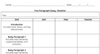 Research/5 Paragraph Essay Editing Checklist