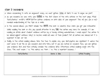 Research Based Argument Essay Student Packet