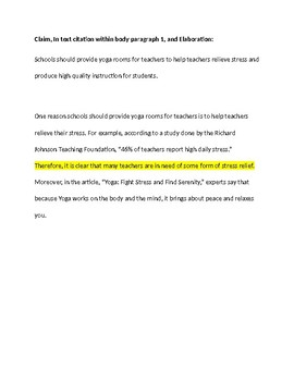Research Based Argument Essay - Teacher's Sample