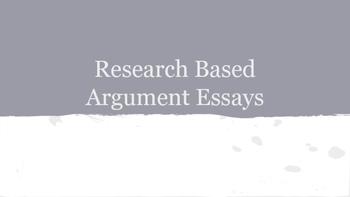 Research Based Argument Essay Unit Plan