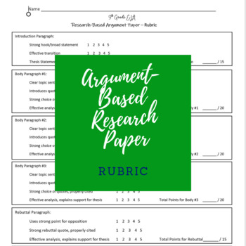 Research Based Argument Worksheets Teachers Pay Teachers