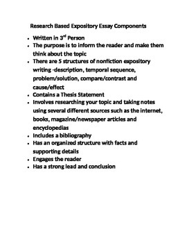 Research Based Expository Essay Components
