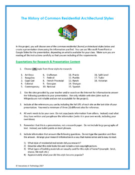 Research & Build a House - Architectural Styles & Their Creators