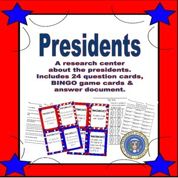 Presidents - Research Task Cards