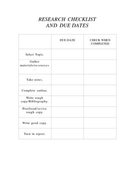 Research Checklist and Due Dates