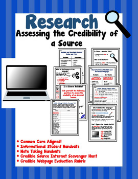 Research:  Credible and Not Credible Sources {Common Core Aligned!}