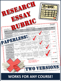 Research Essay Evaluation Rubric - NEW PAPERLESS VERSION Added!