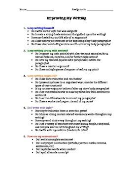 Research Essay Student Checklist
