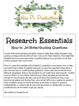 Research Essentials - Jot Notes and Guiding Questions Practice