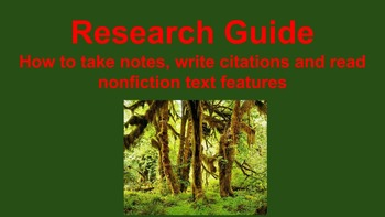 Research Guide - Text Features, Note Taking and Citations