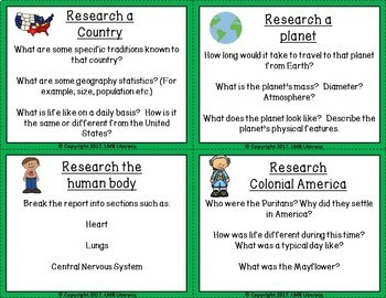 Research Ideas Task Cards *PLUS* Research Notes Template and Graphic Organizer!