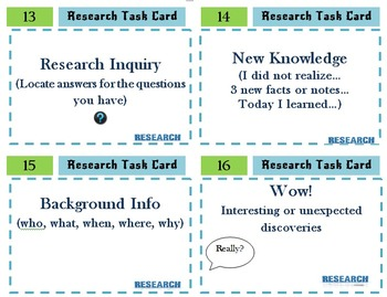 Research Skills and Research Questions Task Cards to Teach the Research Process