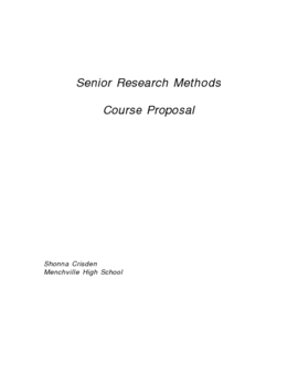 Research Methods Course Proposal