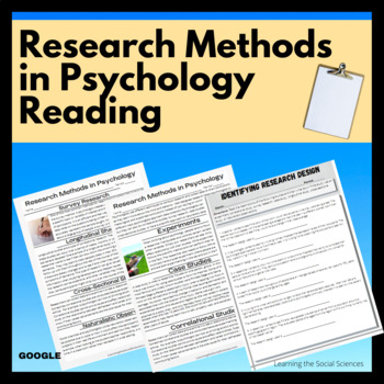 Research Methods Reading and Worksheet for General or AP Psychology