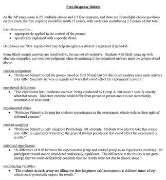 Research Methods Unit Exam for AP Psychology