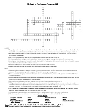 Research Methods in Psychology Unit Review Crossword Set