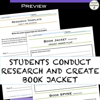 Book Jacket project for ELA or Social Studies
