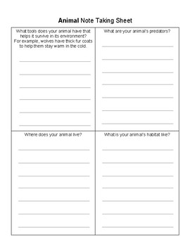 Research Note Taking Sheets