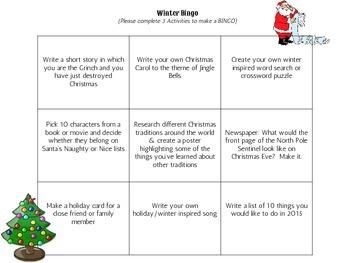 Winter Bingo Choice Activity