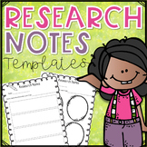 Research Notes Templates/ Research Graphic Organizers
