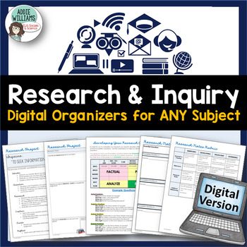 Research & Inquiry Graphic Organizers - Digital / Google Edition