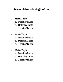 Research Outline for Beginners