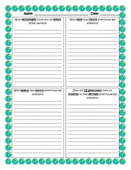 Research Packet Evidence Worksheets- Global Warming