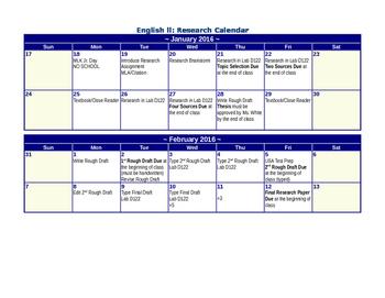 Research Paper Calendar: Technology