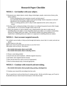 Research Paper Checklist (based on The Curious Researcher)