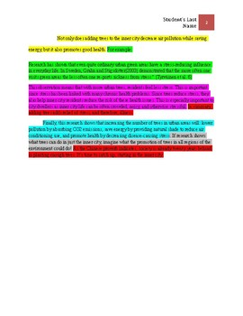 Research Paper: Color Coded: 11 step outline: Example and Graphic Organizer