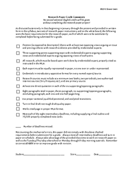 Research Paper Comment Sheet