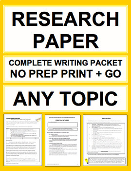 Research Paper: Complete Unit:  Any Topic