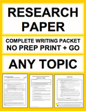 Research Paper   Complete Unit Any Topic   Printable & Digital