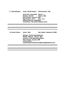 Research Paper--Creating MLA Source Citations Worksheet (Bibliography Practice)