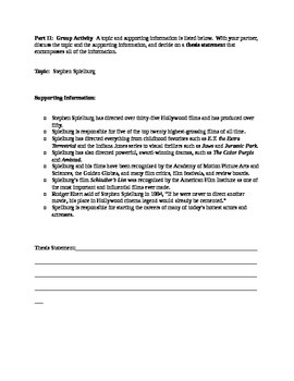 Research Paper--Creating Thesis Statements Worksheet Pack