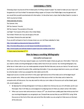Research Paper Directions and Resources for Middle School