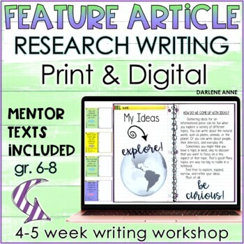 RESEARCH PAPER: FEATURE ARTICLE WRITER'S WORKSHOP IN MIDDLE SCHOOL ENGLISH