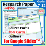 Research Paper Graphic Organizers & Digital Note Cards for