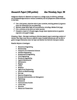 Research Paper: Investigating a College Major and Career