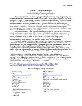 Research Paper Mini-Guide