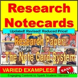 Note Cards:  Research Paper