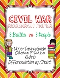 Research Paper Over People/Battles of the Civil War