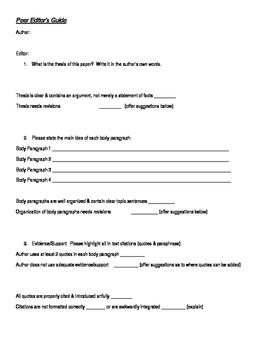 Research Paper Peer Editing Survey