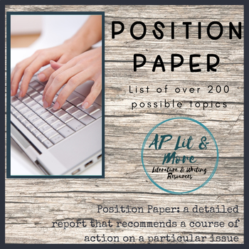 Research Paper - Position Paper Topic List